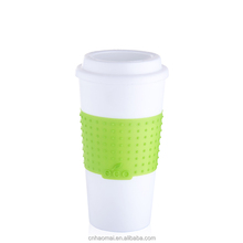 Food Grade Plastic Double Wall Travel Cup With Lid And Silicone Sleeve Insulated Coffee Mug
