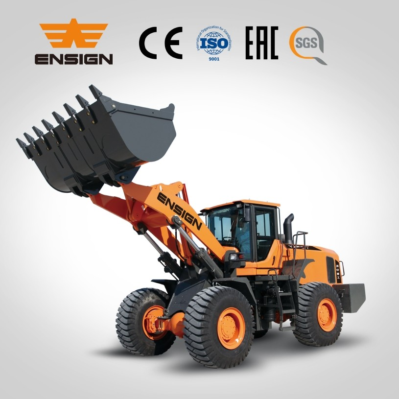 Chinese 6 tons big loader ENSIGN brand YX667 skid wheel loader excavator partner
