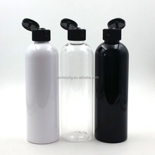250ml PET empty clear shampoo packaging round plastic cosmetic bottles with flip top cap ningbo center
