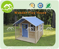top quality wooden play house, waterproof blue roof