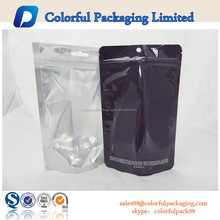 Transparent stand up/doy pack bag with zipper/one side transparent stand up plastic bag with zipper
