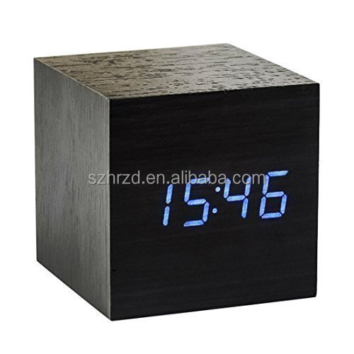 Hot selling cube digital led wooden Desk clock with alarm