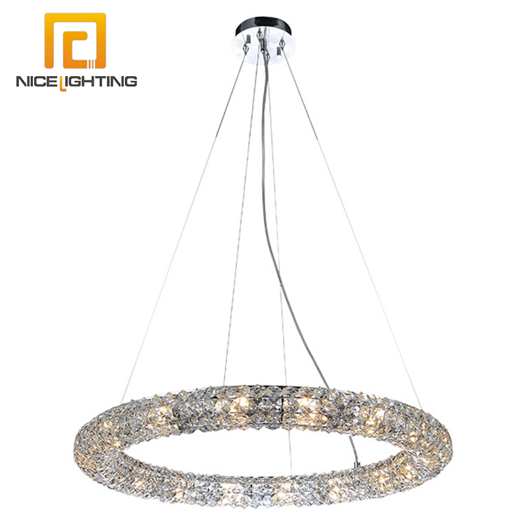 NICE lighting 2017 cheap decorative Metal chrome k9 crystal italian crystal ring chandelier
