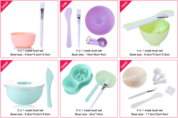 OEM mask tool plastic facial mask mixing bowl cosmetic With Spatula