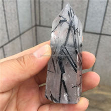 Natural Black Tourmaline Rutilated Quartz Crystal Point Wand Rutilated Quartz Crystal Healing Point