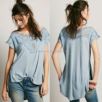 2014 latest embroidered lace women plain fashion hemp t shirts wholesale