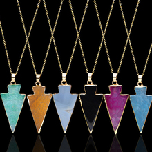 >>>Geometric Colorful Nature Stone Necklace Triangle Crystal Necklaces Gems Stones Pendant necklace