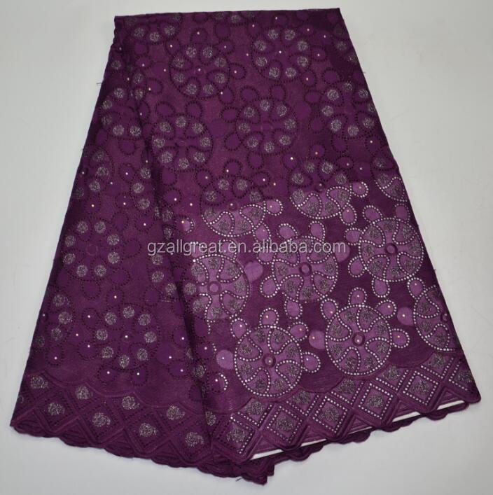 AG3863#1 purple african fabrics/2017 new Embroidery Swiss Voile Lace / high quality african wedding french lace fabric