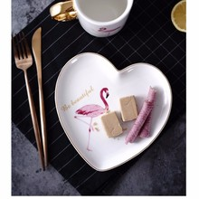 novelty gold flamingo heart shaped ceramic snack serving dish plate