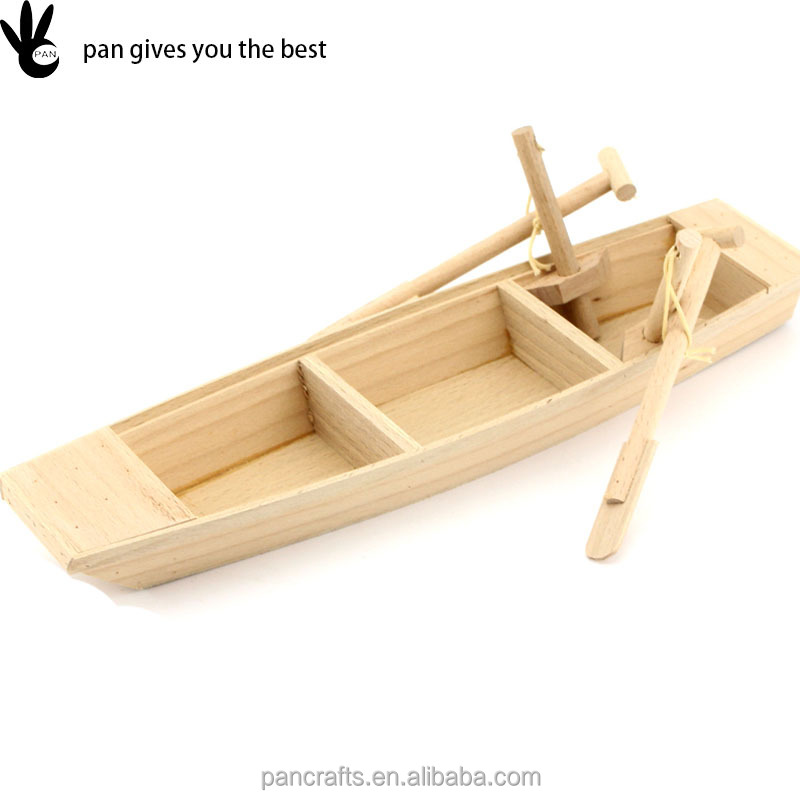 Pan modern style home decoration solid wood handmade present wood boat craft