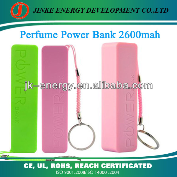 newest fashional 2600mah shenzhen portable charger portable battery charger perfume universal smart phone portable charger