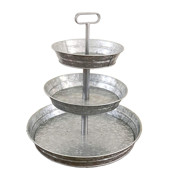 Farmhouse Style 3 Tier Galvanized Metal Stand Serving Tray