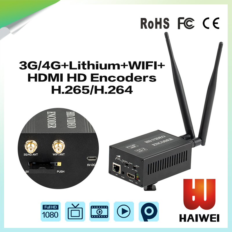 H8 H.265 portable 3G/4G+Wifi+Lithium battery HDMI Encoder outdoor broadcasting equipment