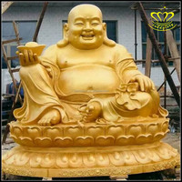 Resin FRP Stained gilded Buddha Maitreya big belly Buddha religious sculpture