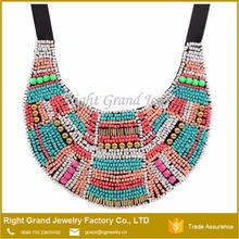 Multicolors Millet beads Ribbon Handmade Chunky Necklace Bib Statement Necklace