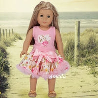 "18"" American Girl Doll Rose Heart Tee Light Pink Pettiskirt Clothes Dress Outfit"