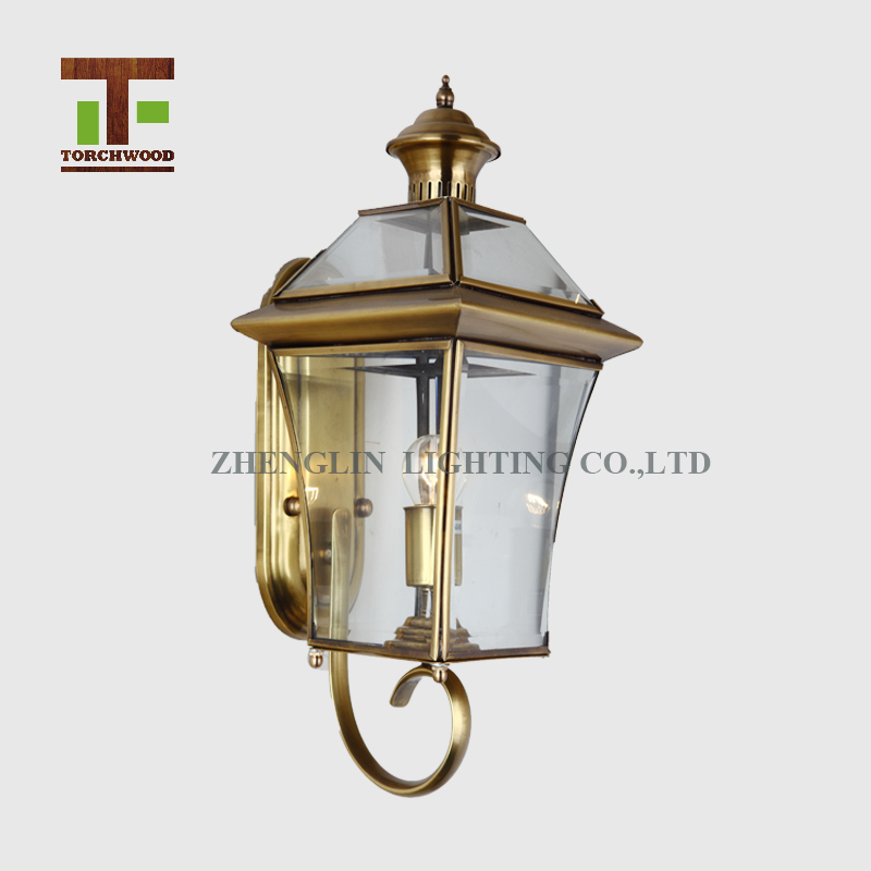 Brass industrial pulley glass copper wall light lamp lights outdoor for hous