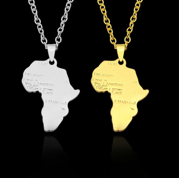 NL00024 WT custom alloy africa map necklace gold or silver plated shape pendant for traveller