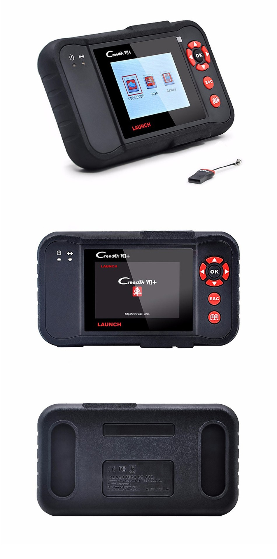 Original Auto Code Reader Launch X431 Creader VII+ Creader VII Plus Update Via Offical Website OBDII Scanner Same as CRP123