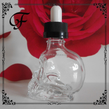 30ml unique glass skull droppper bottle for essential oil glass 30ml skull bottle