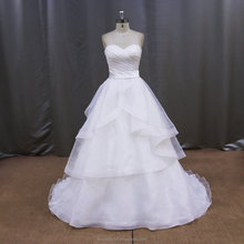 french lace fleecy organza white and gold wedding dresses