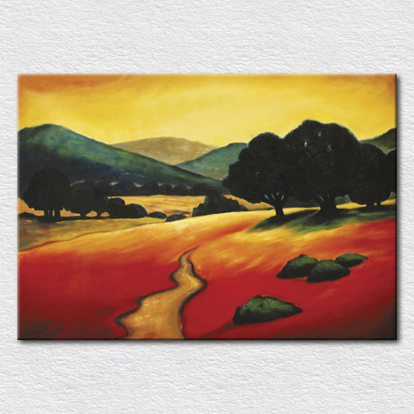Craft art hand painted impression landscape oil pianting printed on cotton canvas for party wall decor free shipping