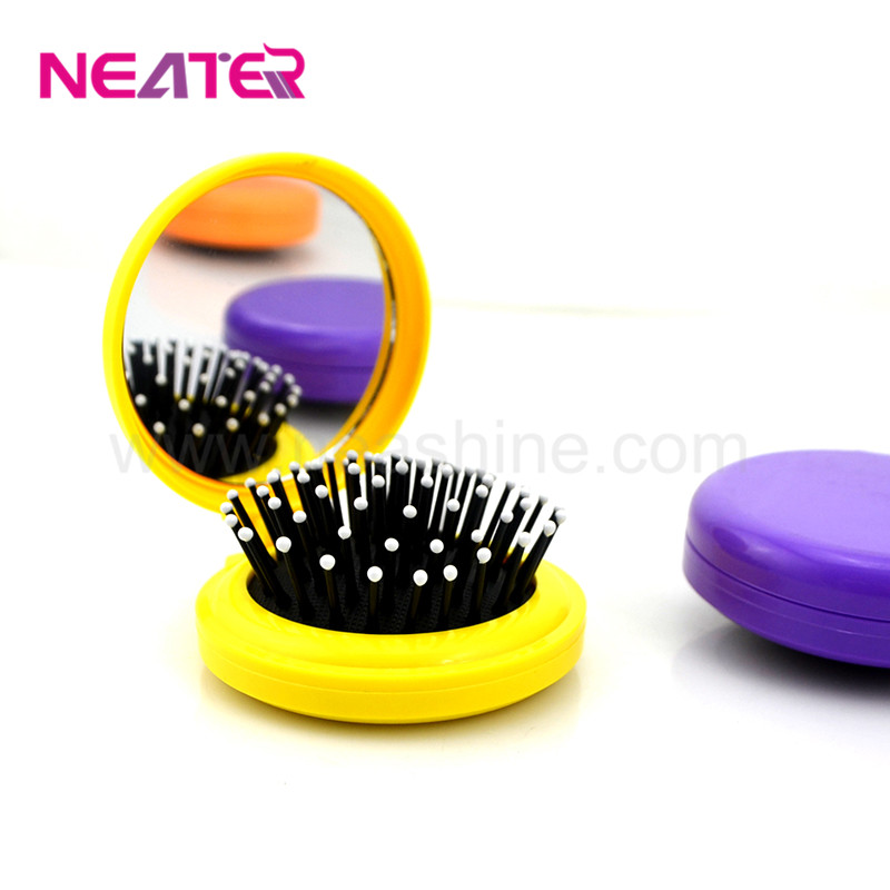 Colorful round best giveaways comb plastic folding hair brush with mirror
