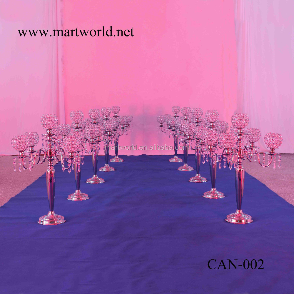 Hot sale item High quality 5 arms silver crystal wedding candelabra for wedding party&hotel decoration (CAN-002)