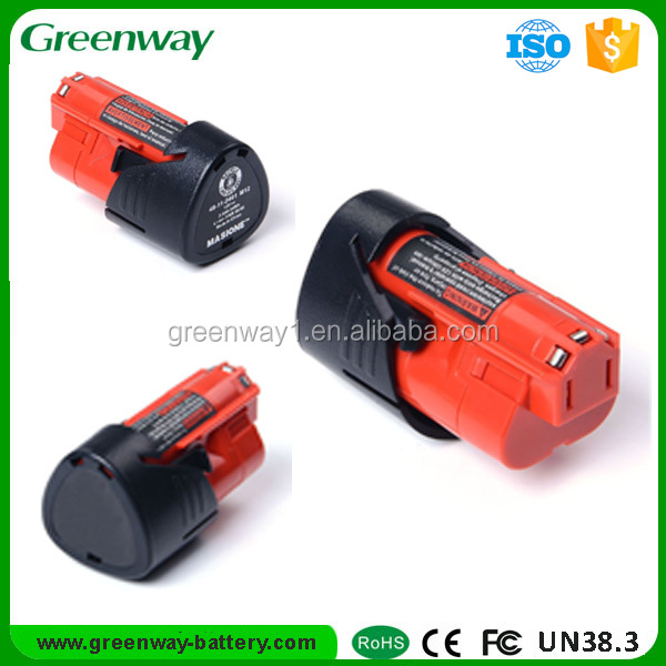 Rechargeable 12v lithium ion battery pack for Milwaukee M12 3000 mAh