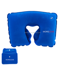 promotional airplane car resting inflatable travel neck pillow with pouch