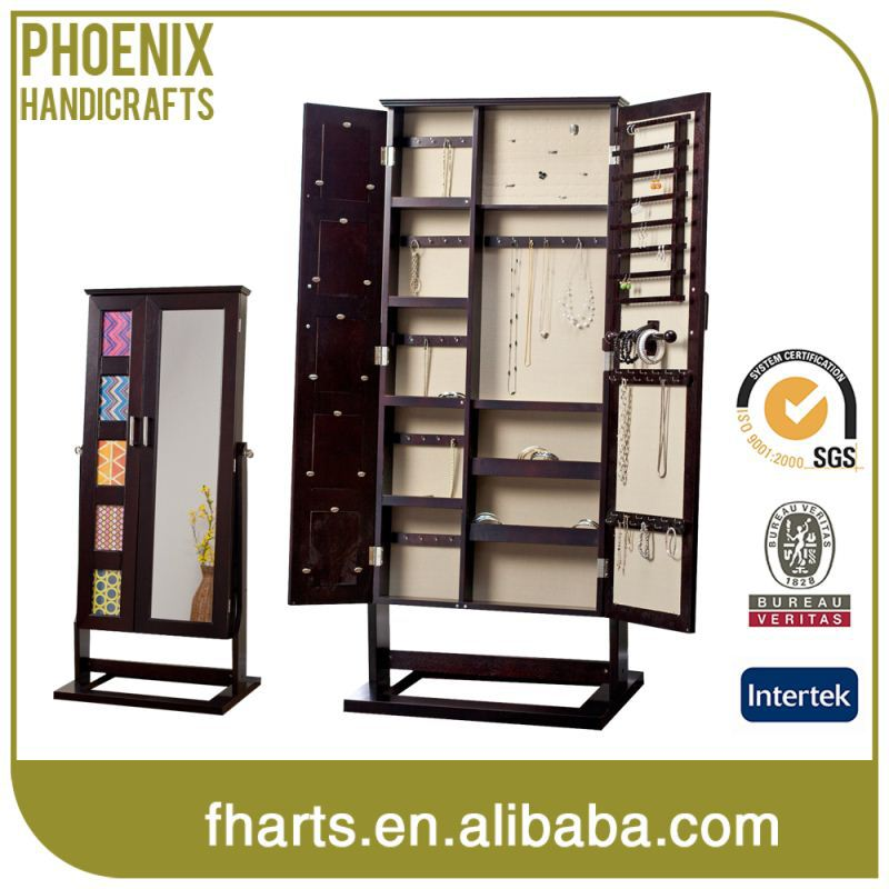 Top Quality Custom Printed Cheap Standing Wooden Jewelry Cabinet