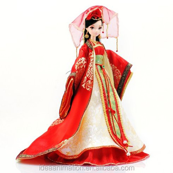 Ancient China beautiful wedding bride pvc doll for collectible vinyl bride toy for kids