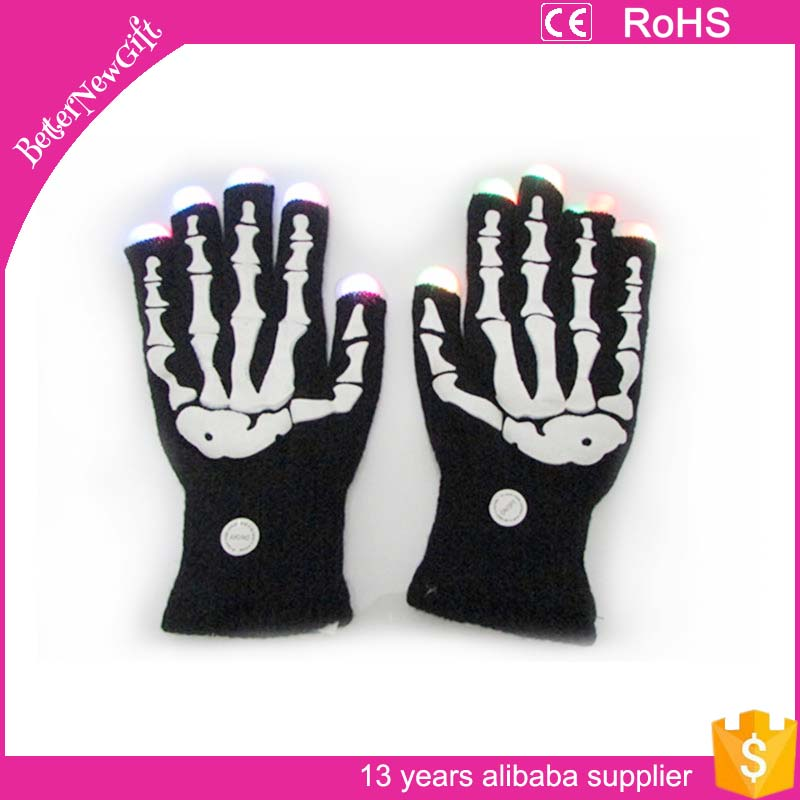 led gloves wholesale china 7 colors glowing skull led gloves finger lighting gloves