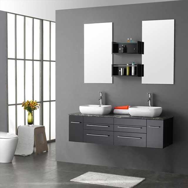 Hot sale melamine wall hung modern style pvc bathroom double vanity