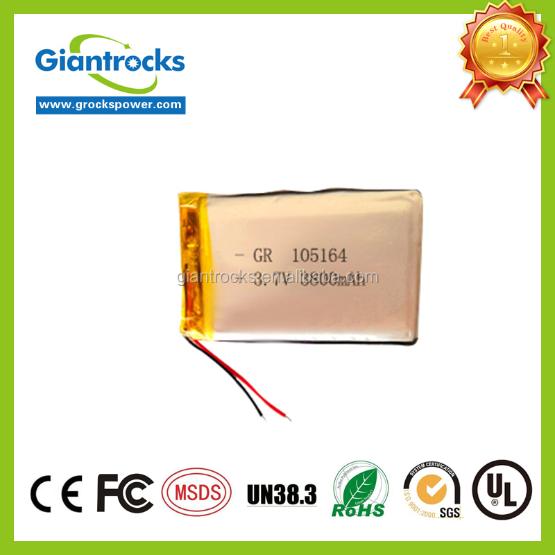 Customized 105164 Rechargeable li polymer 3.7V 3800mAh bttery