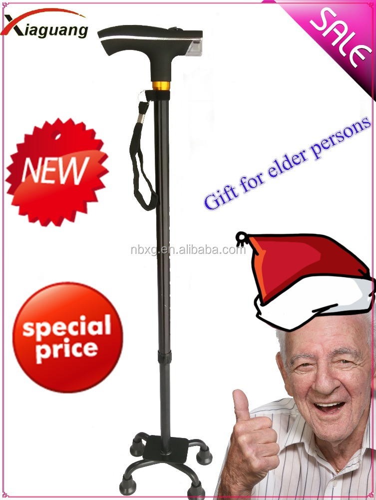 four -feet elderly walking stick walking cane for disable people and old man with LED light