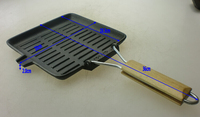 FDA certificated wooden handle square cast iron grill pan