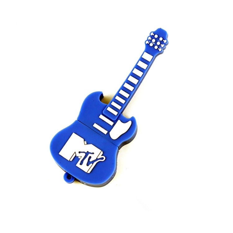 Present Gift Factory Customized Logo Cute Guitar PVC USB Pen Drive 8GB