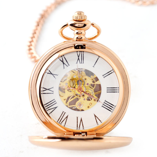Rose Gold Plated Vintage Exquisite Mechanical Pocket Watch For Men And Women