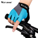 WEST BIKING Custom Cycling Gloves Breathable Lycra Anti-slip Bicycle Mittens Racing Summer Half Finger Bike Gloves