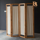 4 Panel Folding Room Divider With Canvas Inlay Wooden Screen