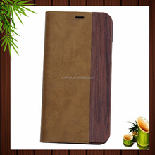 2017 new hot items stand style apricot color pu leather wood mobile phone case for iPhone x,for iPhone x leather case wood