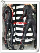 Hot sale fashion ladies leather and latex catsuits A5191