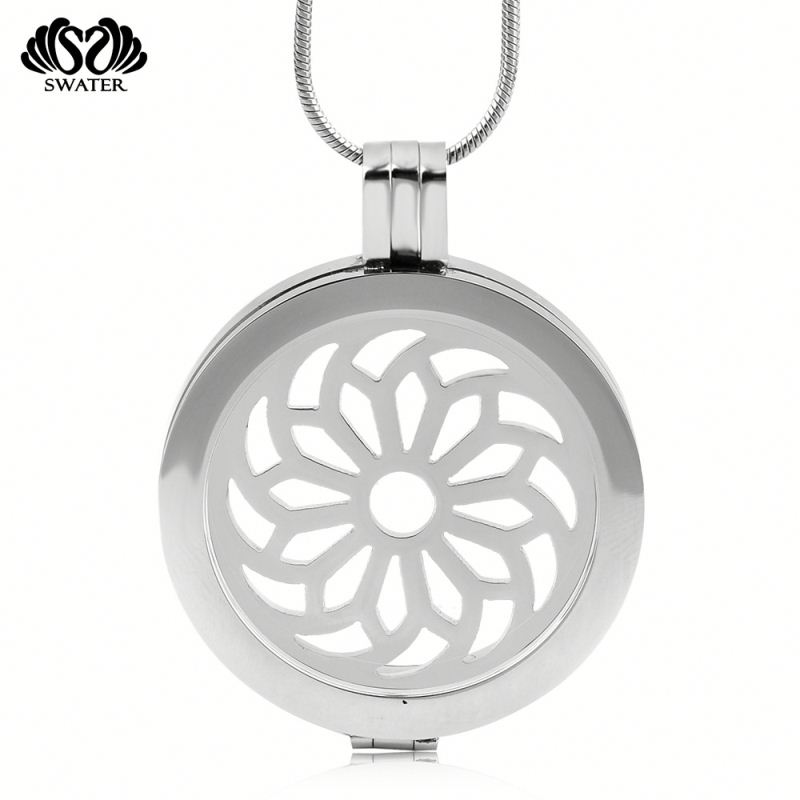 Wholesale Mens Essential Oil Stainless Steel Silver Diffuser Necklace For Women