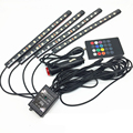 4pcs RGB Car Auto Charge Interior LED Atmosphere Lights 12leds Decoration Floor Foot Lamp Strip Car Interior Light With Remote