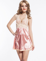 Pink fashion silk babydolls mature women sexy satin nighty