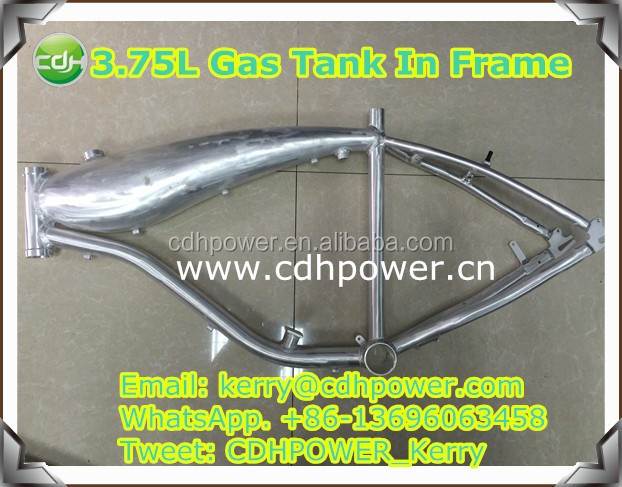 motorized bicycle frame with 3.75L gas tank built in