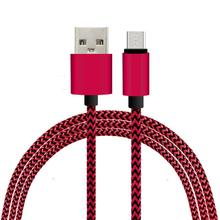 Colorful New 1M Fabric Nylon Braided Micro USB Cable for Samsung For Blackberry for Iphone Cloth braided USB Cord Charger Cable