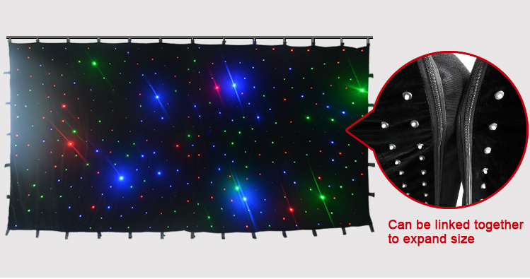 colorful led vision star curtain for stage backdrop show