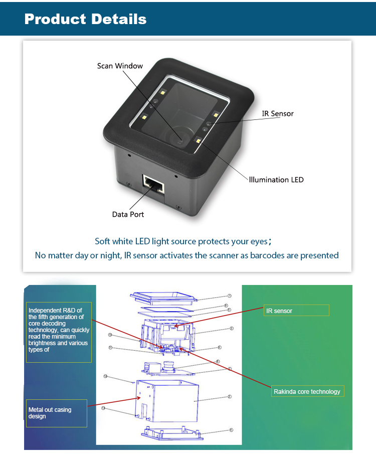 RJ45 RS484 1D 2D Barcode Scanner Weigand TCP IP QR Code Reader Module For Turnstile Access Control